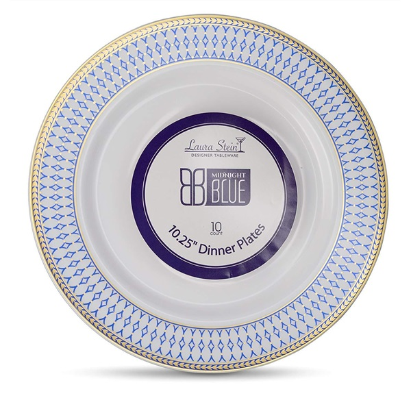 10'' Inch White Plate And Blue & Gold Border