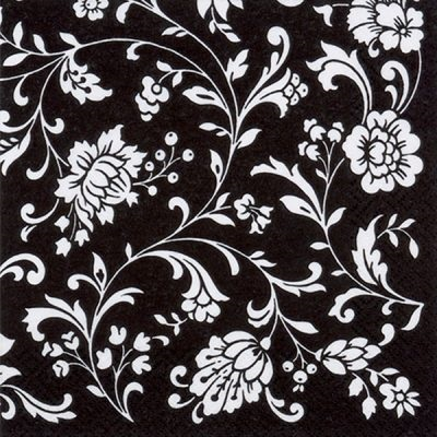 Arab. Black-white Lunch Napkin 12/20 CS