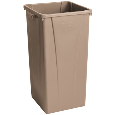 23 Gallon Beige Square Tall Trash Can Carlisle