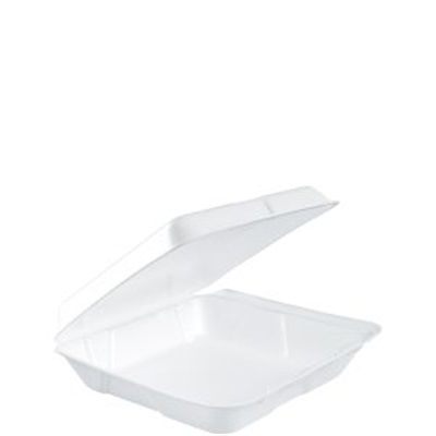 Take Out 8x8 Container Foam Square with Hinged Lid 200/Case Dart 80HT1R