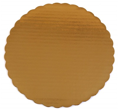 "10"" Cake Circle Gold Scallop 200/CS"