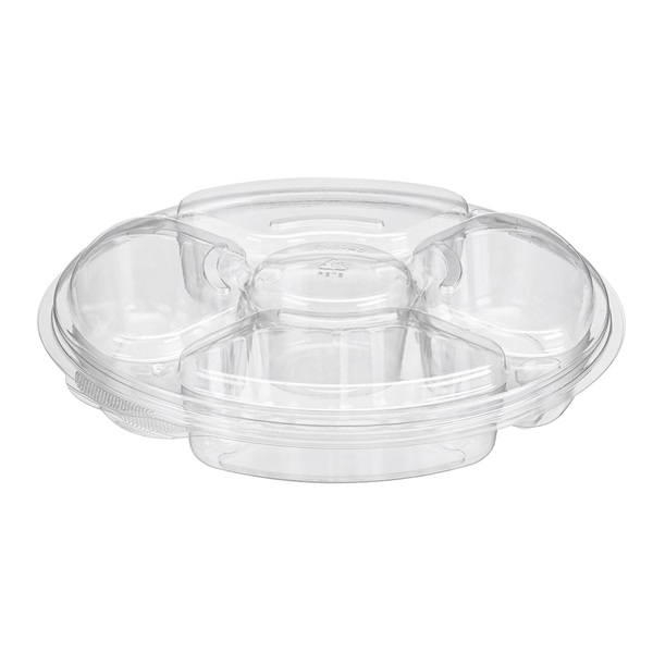 42 Oz 5 Compartments Platter With Lid Clear 100/CS PLO42C