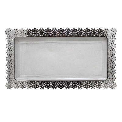 Silver Edged Flower Tray Large Clear 24/2PK (47767)