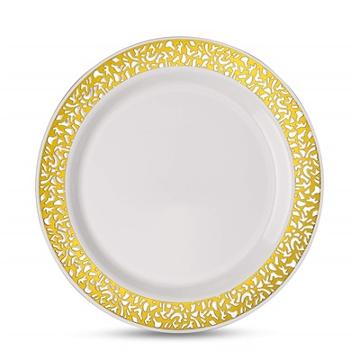 "Lace Series 9"" White/gold Luncheon Plates 12/10 CT (LCE-P9G)"