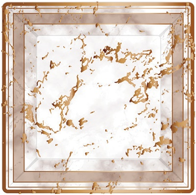"Marble Design Rose Gold 10"" Paper Plates (3137)"