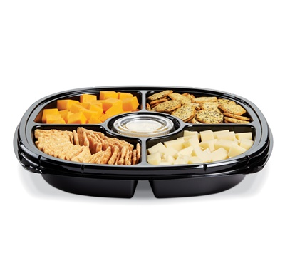 "Square 5 Compartment 12"" Black Cater Tray 50/CS (ST12T-5-BLK) - Copy"