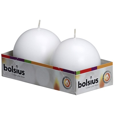 Bolsius Ball Candles white 70mm (aprox 2.75″) 10 / 2 Pk BB30502