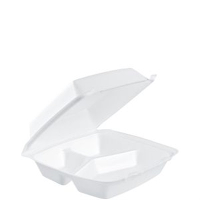 "Take Out Medium Three Compartment with Removable Lid 8"" x 8"" x 3"" Dart 85HT3R"