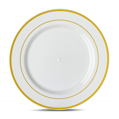 "Classic Series 9"" White/gold Luncheon Plates 12/10 CT (CLS-P9G)"