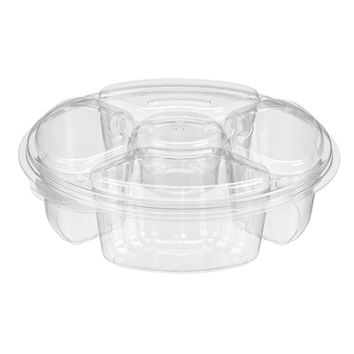 65 OZ 4 Compartment Platter W/Dip Holder 100/CS PLO65