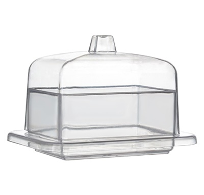 Fineline Tiny Temptations 3 oz. Clear Rectangular Tray with Lid - 120/CS 6703-CL