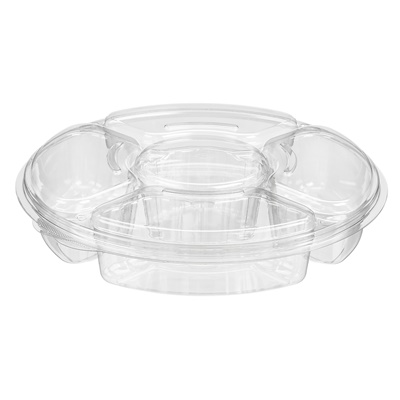 "96 OZ 4 Compartment Platter W/Dip Holder 13"" X 2.75 50/CS PLO96C"