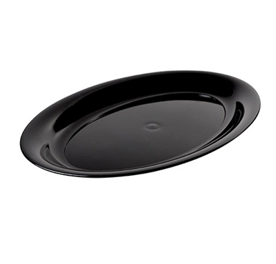 "Oval Black Cater Tray 21"" x 14"" 20/Case Fineline 484.BK"