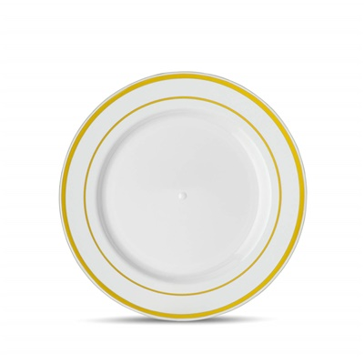 "Classic Series 7"" White/gold Salad Plates 12/10 CT (CLS-P7G)"