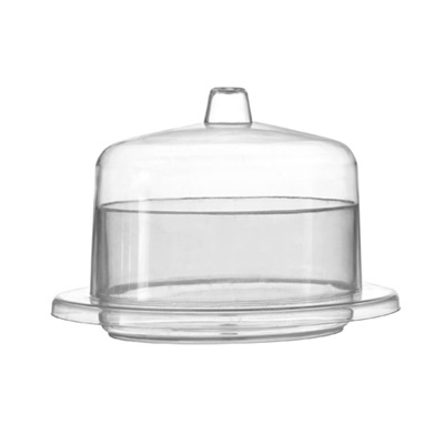 Fineline Tiny Temptations 2.5 oz. Clear Oval Tray with Lid 120/CS 6702-CL