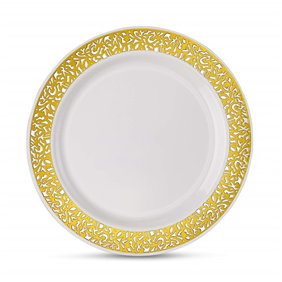 "Lace Series 10"" White/gold Dinner Plates 12/10 CT (LCE-P10G)"