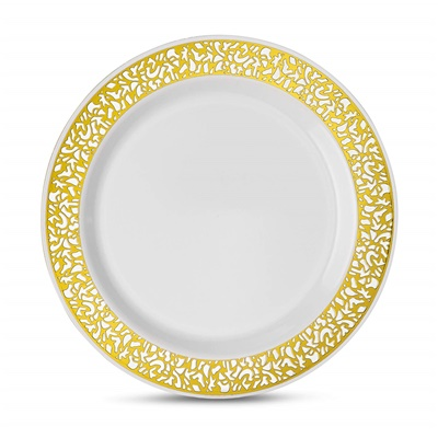 "Lace Series 6"" White/gold Dessert Plates 12/10 CT (LCE-P6G)"