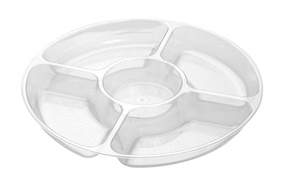 "12"" Round Clear 5-Compartment Tray Fineline D12050.CL"