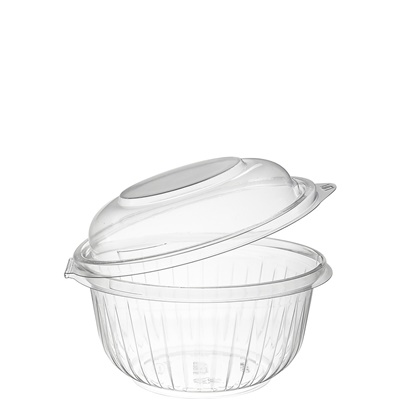 Dart C16HBD PresentaBowls 16 oz. Clear Hinged Plastic Bowl with Dome Lid 300/CS