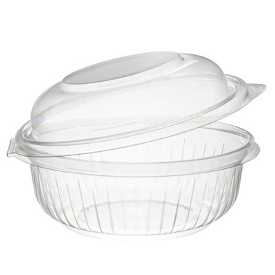 Dart C12HBD PresentaBowls 12 oz. Clear Hinged Plastic Bowl with Dome Lid 300/CS