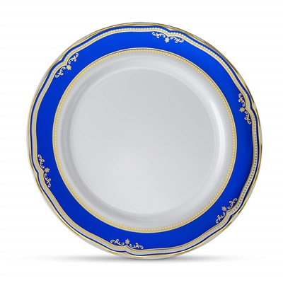 "Cobalt Blue 10"" White Dinner Plates W/ Blue/gold Border 12/10 CT (CB-P10-BG)"