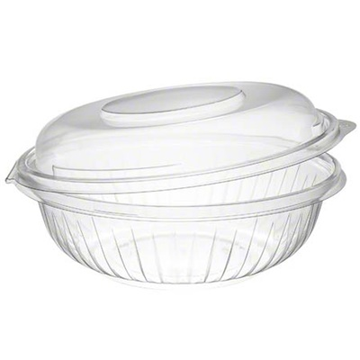 Dart C24HBD PresentaBowls 24 oz. Clear Hinged Plastic Bowl with Dome Lid - 150/CS