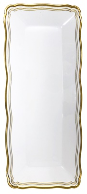 "(3952) Aristocrat White / Gold Oblong Plastic Serving Trays 13.75"" X 6"" Tray 24/2 CT"