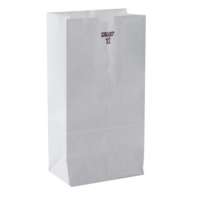 White Paper Bag 12 lb 500 Bundle Duro