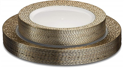 "Glitz Metalized Rose Gold 10"" White Dinner Plates W/ Rous Gold Border 12/8CT GLZ-P10-RG"