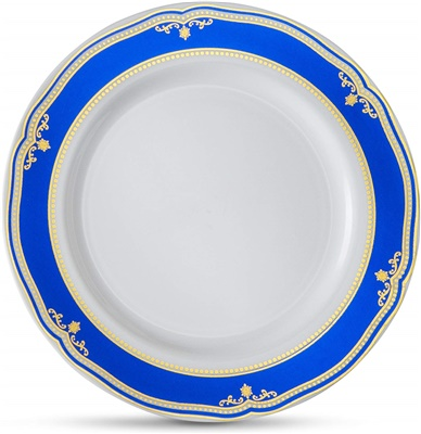 "Cobalt Blue 6"" White Soup Bowl W/ Blue/gold Border 12/10 CT (CB-P6-BG)"
