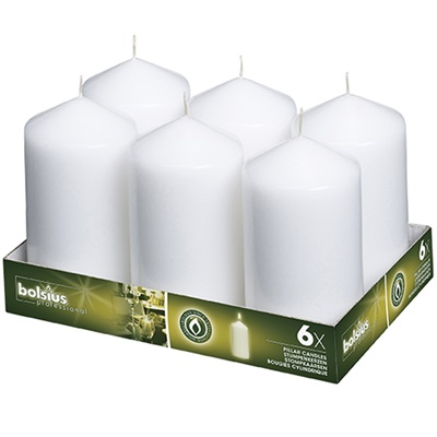 Bolsius Pillar Candles White 148/78 mm (aprox 3X6″) 6/PK BB51502