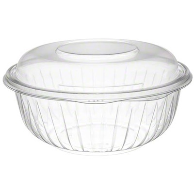 Dart PET32BCD PresentaBowls 32 oz. Clear Plastic Bowl with Dome Lid - 126/CS