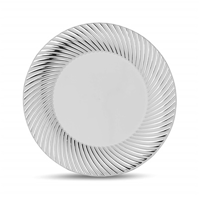 "Curve Series 7"" White/Silver Plates 12/10 CT (CRV-P7S)"