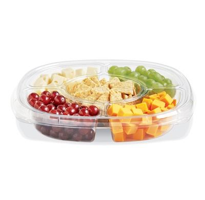"Square 5 Compartment 12"" Clear Cater Tray w/Liquid Control 50/CS (ST12T-502 CLEAR)"