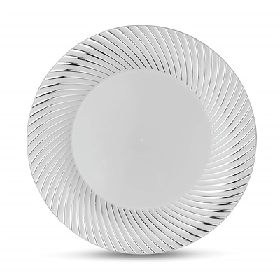 "Curve Series 10"" White/silver Plate 12/10 CT (CRV-P10S)"