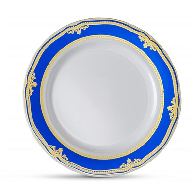 "Cobalt Blue 7"" White Soup Bowl W/ Blue/gold Border 12/10 CT (CB-P7-BG)"