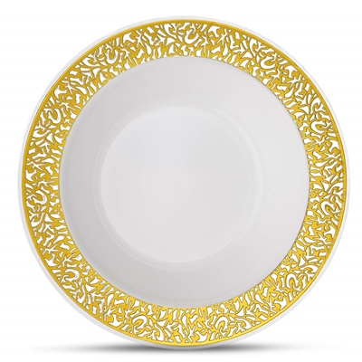 Lace Series 12 Oz White/gold Bowl 12/10 CT (LCE-B12G)