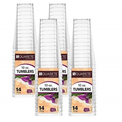 Hexagons 10 Oz Clear Square Tumbler 12/14PK