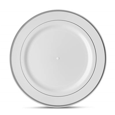 "Classic Series 9"" White/silver Luncheon Plates 12/10 CT (CLS-P9S)"