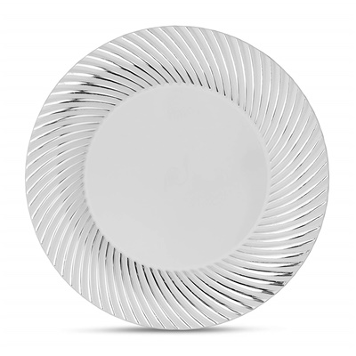 "Curve Series 9"" White/Silver Plates 12/10 CT (CRV-P9S)"