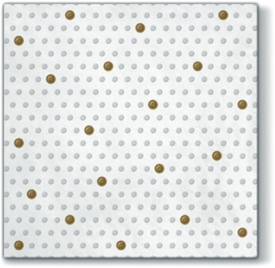 Inspiration Dots Spots White/gold Lunch Napkin 12/20 CT (200009)