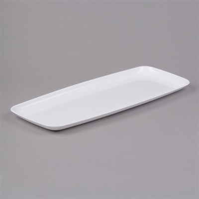 "Mozaïk Rectangle Platter Catering Tray White 9"" x 22"" 25/CS Sabert 2322"
