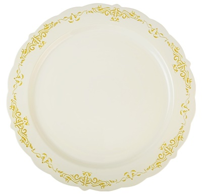 "Fineline Heritage 10"" Round Bone / Ivory Plastic Plate with Gold Trim 120/CS 5910-BOG"