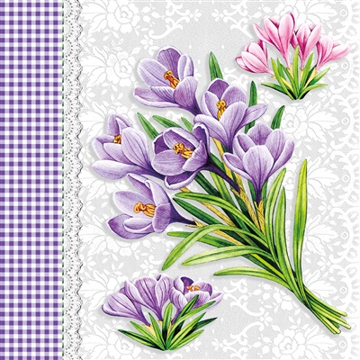 Crocus Lunch Napkin 12/20 CT (74581)