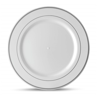 "Classic Series 10"" White/silver Dinner Plates 12/10 CT (CLS-P10S)"