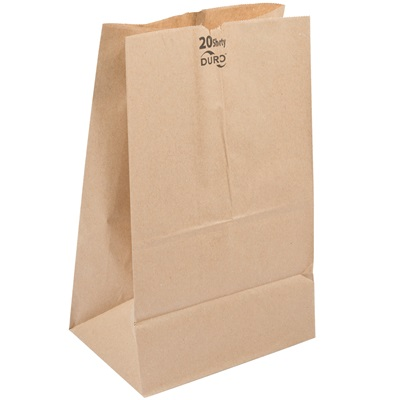 Short 20 Lb. Brown Paper Bag 500 Bundle Pk. #20