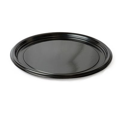 "Thermoform 16"" Round Cater Trays Black 25/CS Fineline 7610TF-BK"