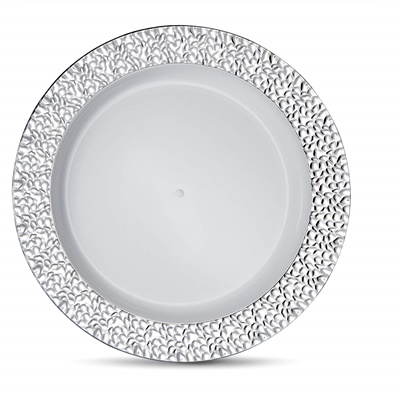 "Glitz Metalized Silver 10"" White Dinner Plates With Silver Border 12/10CT (GLZ-P10S)"