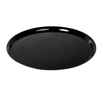 "Supreme 14"" Round Platter Cater Trays Black 25/CS Fineline 7401-BK"
