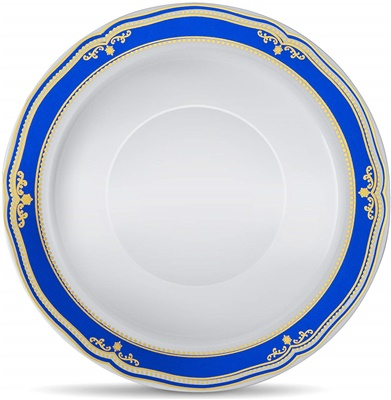 Cobalt Blue 12 Oz White Soup Bowl W/ Blue/gold Border 12/10 CT (CB-B12-BG)